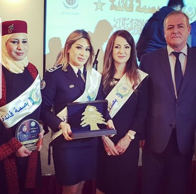 "Administrative 1stLieutenantLara Kallas receives ""The Leader"" Golden award of 2019"